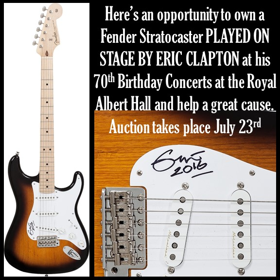 charity auction item eric clapton owned played signed stratocaster. Black Bedroom Furniture Sets. Home Design Ideas