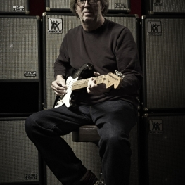 Eric Clapton with a 2006 'Blackie' re-creation Stratocaster -Photo Jack English